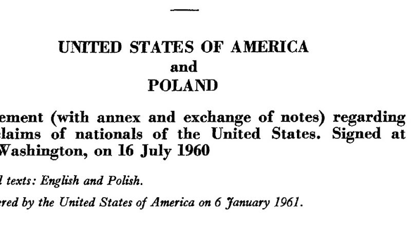 Agreement Between The United States Of America And Poland Regarding